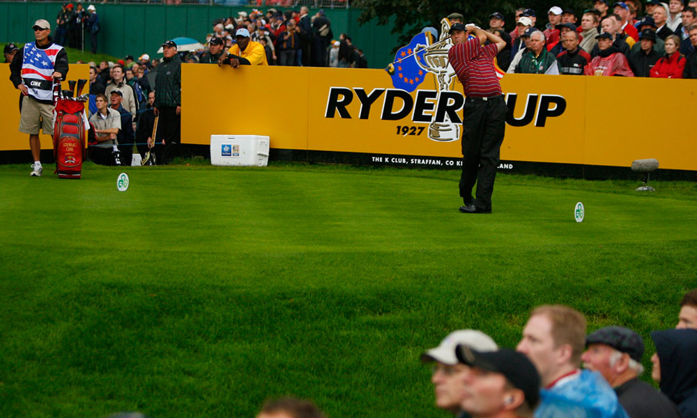 Jordan (in yellow) watched Stewart Cink tee off at the 2006 Ryder Cup.