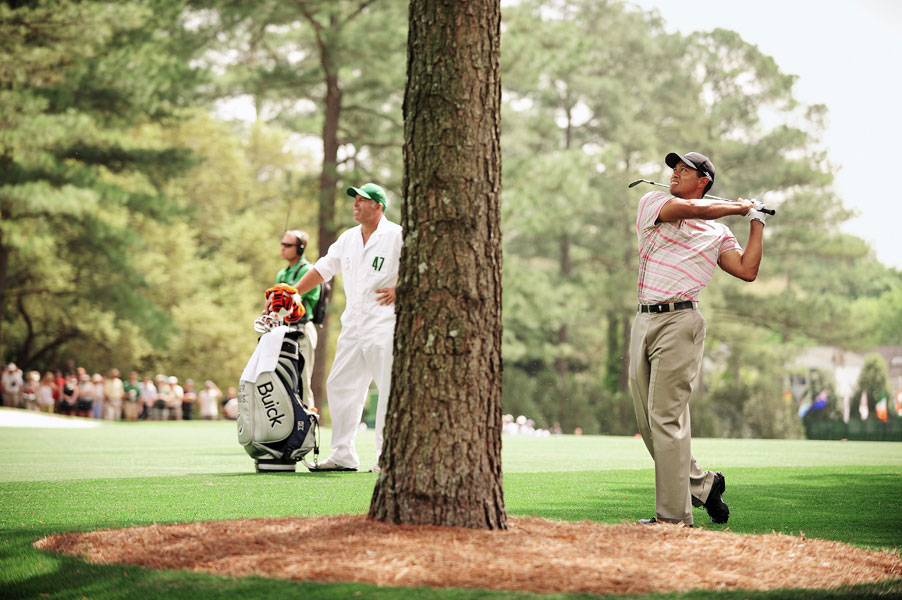 Woods also finished in second place at the 2008 Masters, three strokes behind Trevor Immelman.
