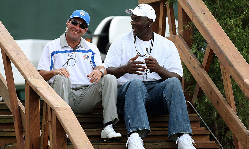 Here's a look back at some of his appearances at golf events through the years.                                              Jordan chatted with Jose Maria Olazabal during the afternoon four-ball matches at the 2008 Ryder Cup.