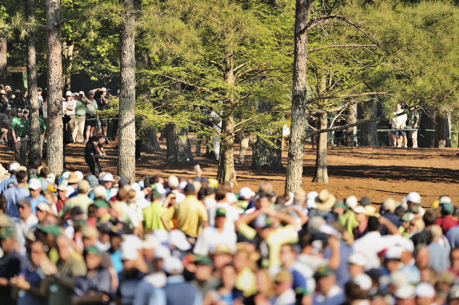 In 2010, this shot from the pine straw at the par-5 13th set up a birdie for Mickelson, and he cruised to a three-shot win over Lee Westwood.