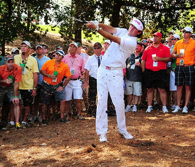 Bubba Watson hit a shot for the ages in a playoff against Louis Oosthuizen in 2012. Stuck in the trees on the right side of the 10th hole, and 162 yards from the hole, Watson played a 40-yard hook shot to the green and two-putted for par to win the tournament.