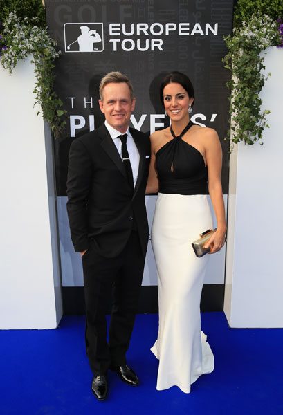Luke Donald and his wife Diane arrive at the European Tour Dinner prior to the BMW PGA Championship.