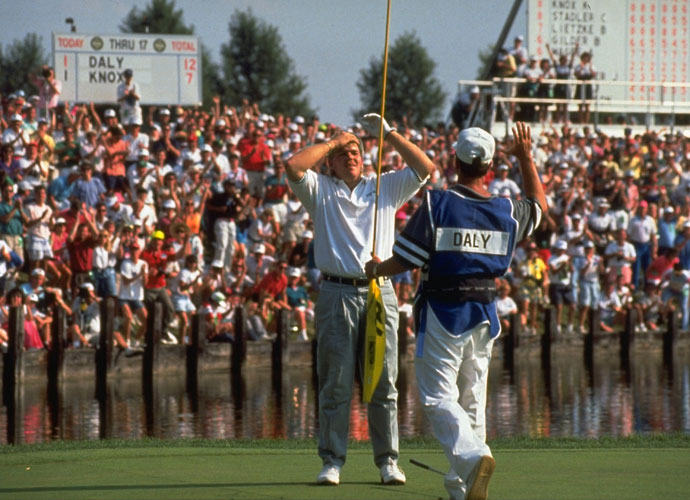 "No. 2 | 1991:  After leapfrogging from ninth alternate to next in line, John Daly motored 7 ½ hours from Memphis to Crooked Stick in Indianapolis. When Nick Price withdrew, Daly snagged Price's caddie, Jeff ""Squeaky"" Medlin, and was soon smashing the ball -- down the middle -- with his anatomically impossible backswing. Other players were flabbergasted at his power. Daly hammered out a three-shot triumph and golf had a new folk hero."