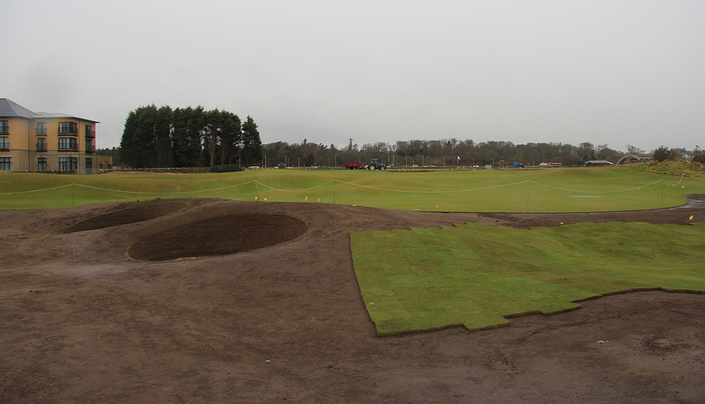 A view of the second green from the right of the new bunkers.