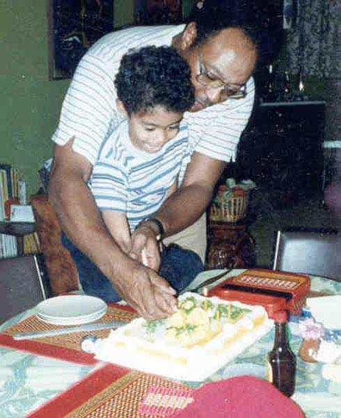 Woods sharing a birthday with his father.