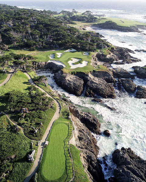 Cypress Point                     An aerial view of the 15th hole at Cypress Point Golf Club in Pebble Beach, California.