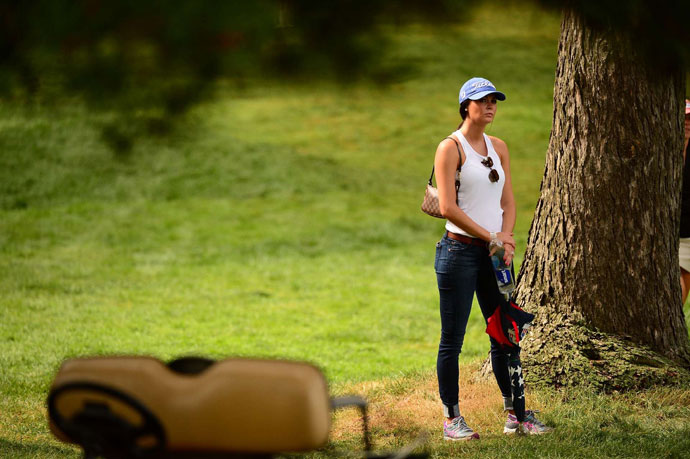 Amanda Dufner watches the action during the 2013 PGA Championship.