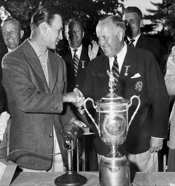 Hogan with USGA President James Standish Jr. after the 1950 U.S. Open win at Merion. Hogan endured tremendous pain to win the tournament and played with his legs in bandages.