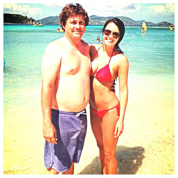 Amanda Dufner with husband, Jason, at the beach.