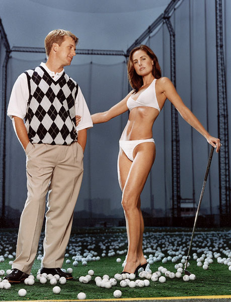 David Toms and his wife Sonya pose for 2003 Sports Illustrated swimsuit edition.