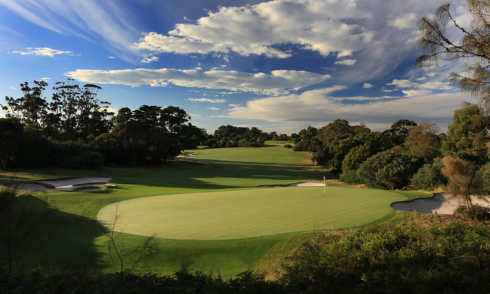4. 6th at Royal Melbourne West -- Par 4, 428 yards -- Victoria, Australia                       This sharp dogleg right features several signature Alister Mackenzie stylings, including a constellation of furry-browed bunkers, set 220 to 240 yards from the tee. Carry them, and the approach gets easier. But bail even slightly left, and you've got a hanging lie to a green that spills precipitously from front to back.