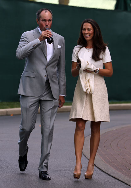 Matt Kuchar with his wife Sybi Kuchar during the opening ceremony for the 2012 Ryder Cup.