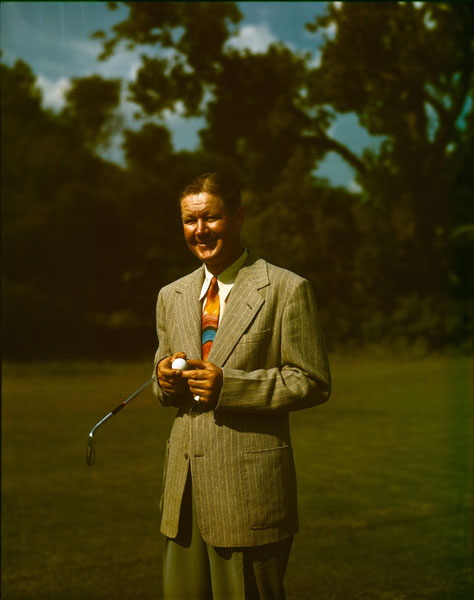 In his final season of tournament golf before his retirement, Lord Byron, pictured at the 1946 Masters, was close to the lead in the 3rd round amid huge crowds at Cleveland's Canterbury Golf Club. After Nelson hit his lay-up second at the par-5 13th, the gallery swarmed. Nelson's caddie tried to duck under the ropes, tripped and accidentally stepped on Nelson's ball. Nelson was slapped with a one-stroke penalty. He eventually earned a playoff -- and lost. If not for the misstep by his caddie, Nelson would have exited the game on top.