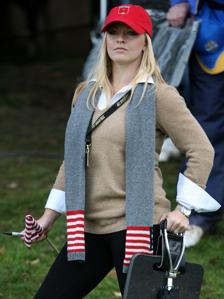 Kandi Harris, partner of US Ryder Cup player Hunter Mahan, watches during the second day of the 2010 Ryder Cup golf competition between US and Europe at Celtic Manor golf course in Newport, Wales on Oct. 2, 2010.