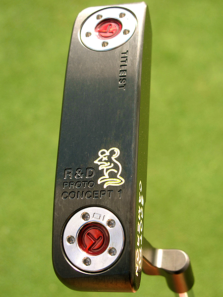 This is the bottom of a Scotty Cameron Tour Rat putter. The concept behind the Tour Rat was to take the best individual qualities of several different Newport putters and combine them into one flatstick. Right now it's available only to PGA Tour pros.