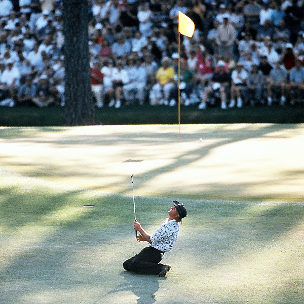 Greg Norman started the final round of the 1996 Masters six strokes ahead of Nick Faldo. All Norman had to do was shoot even par, and the green jacket would finally be his. But Norman collapsed in heartbreaking fashion, shooting a final-round 78 to Faldo's brilliant 67.