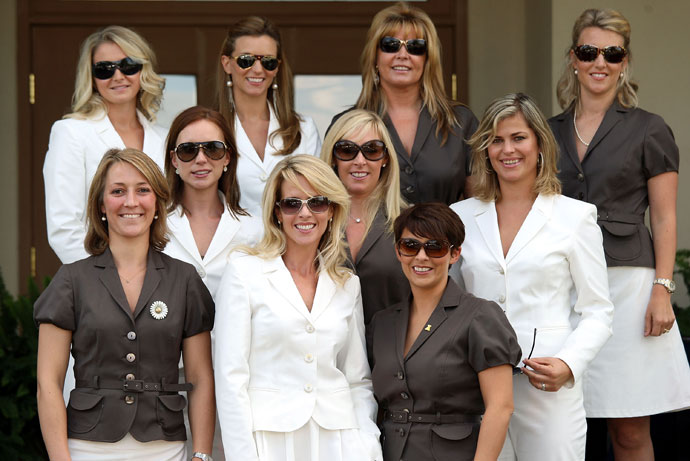The wives and partners of the European team  (top row L-R) Lauren Smith, Kate Rose, Monteserrat Bravo Ramirez,  Emma Stenson (middle row L-R) Jocelyn Hefner, Caroline Harrington, Ebba Karlsson (bottom row L-R) Anne Haghfelt, Valerie Faldo and Laurae Westwood pose prior to the opening ceremony of the 2008 Ryder Cup at Valhalla Golf Club on September 18, 2008 in Louisville, Kentucky.