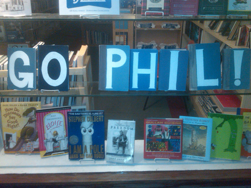 A book store in downtown Charleston showed its enthusiasm for Phil Mickelson.