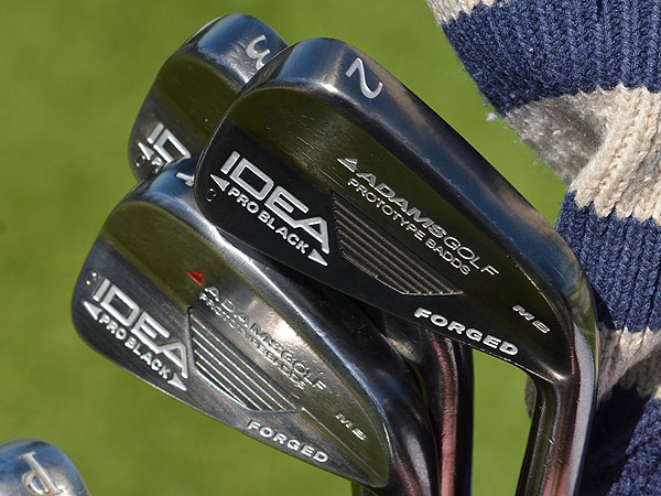 Aaron Baddeley uses a custom set of Adams Forged prototype irons, which on Monday included an old-school 2-iron.