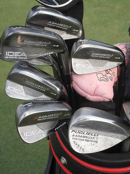 Aaron Baddeley plays with a prototype set of Adams Idea Back forged blade irons.