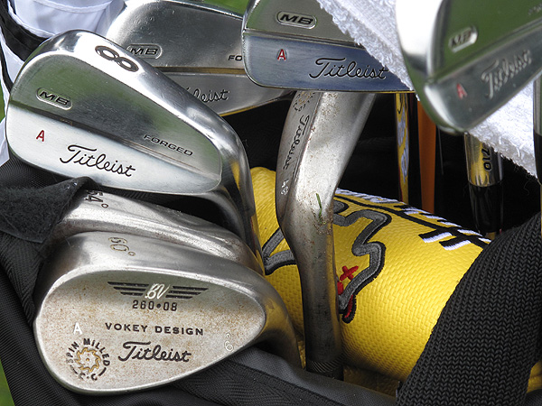 keeps the personalization of his classic-looking Titleist MB 710 irons simple, opting for a red A.