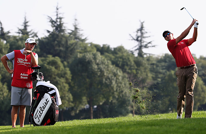 Adam Scott is also tied with the large group at two under.