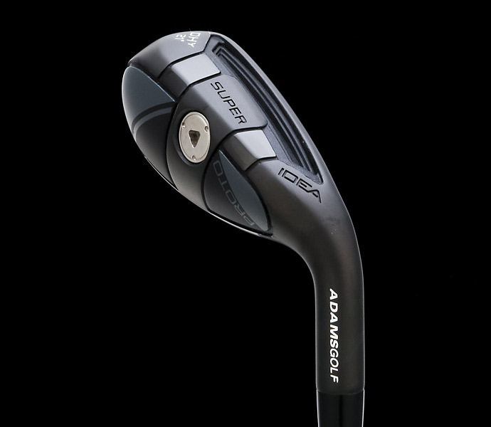 "Adams Idea Super DHy                       $200, graphite                       This ""driving hybrid"" bridges the gap between big-hitting hybrids and mid- to long irons. Its compact, hollow stainless steel body has a ""Velocity Slot"" on the sole [not the crown], plus a maraging steel face with bulge and roll for longer, more consistent distances than irons. The DHy also has a lower CG than many driving irons to get shots up easily. This versatile club -- in 18°, 21°, 24°, 27° lofts -- can serve as a high-lofted hybrid for good players or as a 4- or 5-iron for mid-handicappers."