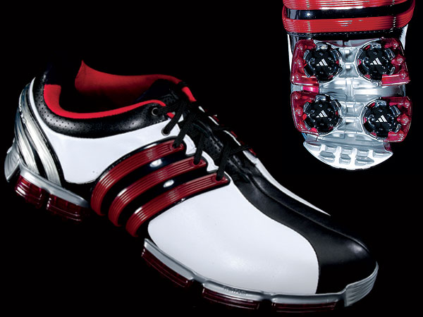 "The Shoe Fits                   A collection of new, high-performance golf shoes that will not only make your walk more comfortable, but help you perform better too.                                      Adidas TOUR 360 3.0                   $180, adidasgolf.com                   Adidas's oh-so-familiar three-stripe                   design (red) doubles as a molded                   upper in the mid foot. This feature,                   known as 360WRAP, creates a snug fit                   across the top of your feet. A second                   molded three-stripe design (this one                   in the rear) locks your heel in place to                   prevent slippage. The ""3D FitFoam""                   sock liner provides superb cushioning."