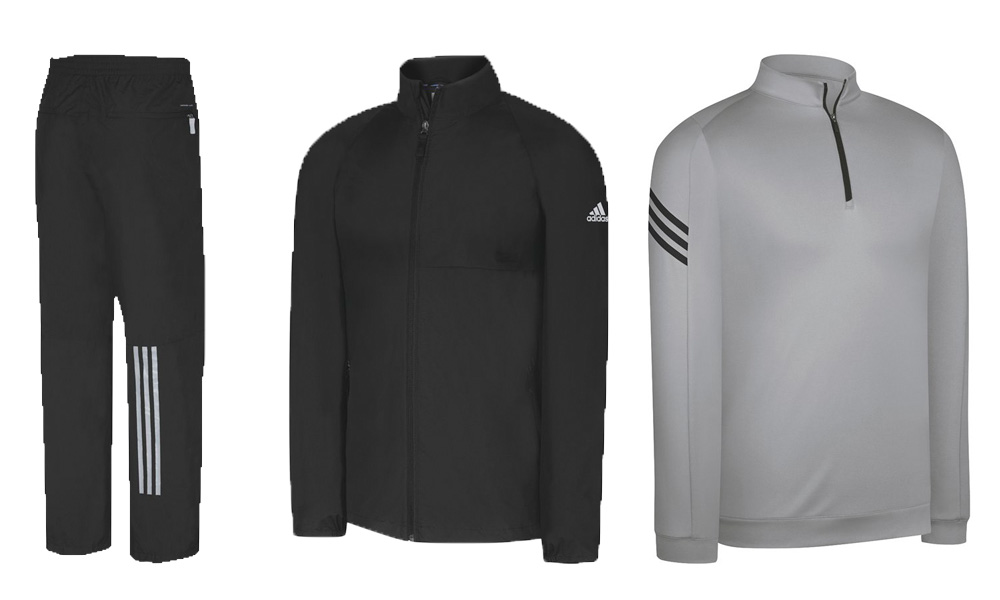 Dustin Johnson, Sergio Garcia and other Adidas-sponsored golfers have been wearing the company's ClimaLite 3-Stripes Layering jacket, a quarter-zip pullover that is wind and rain resistant (right, $65). If the heavens open up, they will don the Adidas ClimaProof Rain Provisional Jacket ($75-80) and Rain Provisional pants ($70-75). Both are fully seam sealed and waterproof. The pants have 12-inch zippered leg openings that make slipping them on while wearing your golf shoes a lot easier.