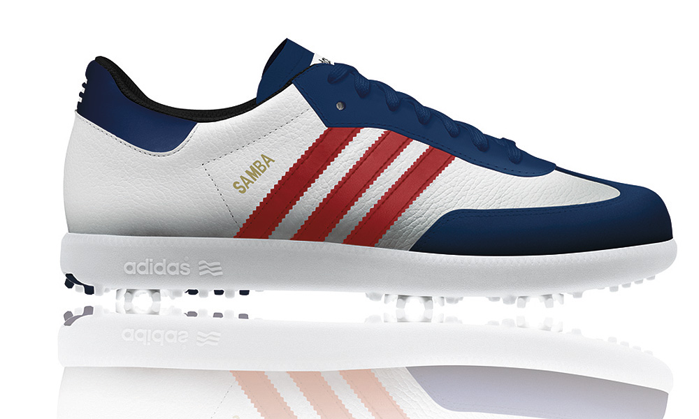 Adidas SAMBA, U.S. Open Edition ($119,   adidasgolf.com | Buy at Shop.Golf.com)                       The latest in a souvenir series based on the classic Samba design -- the ubiquitous three-stripe Adidas leather sneaker familiar to generations of soccer players and hippies. The golf version is equipped with spikes and Adidas' Thintech, low-to-the-ground technology.