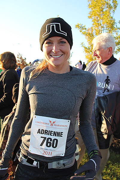 Adrienne shows some JL (J. Lindeberg) pride at Milwaukee's Lakefront Marathon. Johan Lindeberg is a Swedish fashion designer whose clothes are popular among golfers.