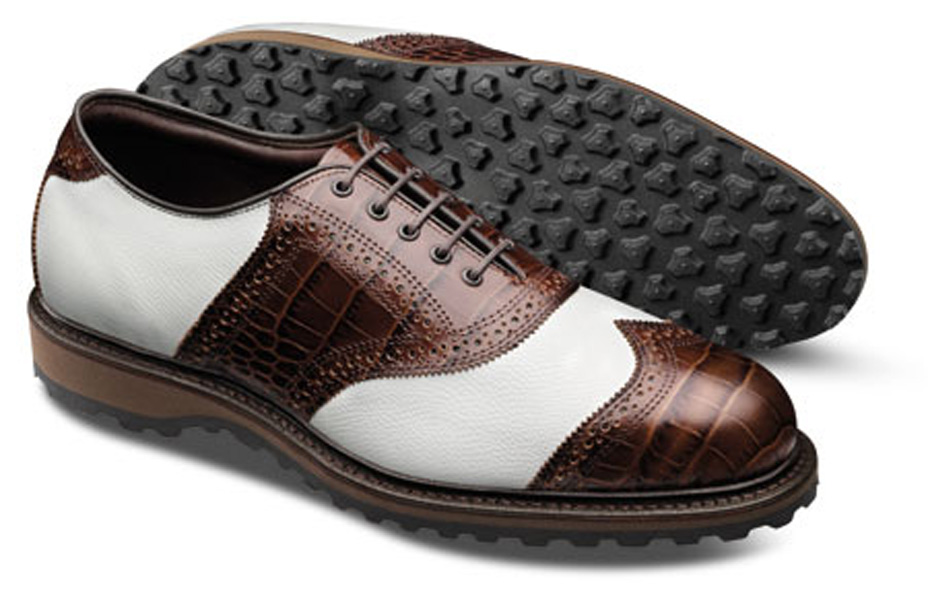 ALLEN EDMONDS LEGEND WITH SLV SOLE, $295; allenedmonds.com                       With a classically beautiful crocodile print leather saddle and short wingtip, the Legend evokes the timeless style of greats like Bobby Jones, Sam Snead and Ben Hogan. Also of note: the new SLV (Spikeless Versatility) sole contains multiple traction studs for lightweight, comfortable traction.
