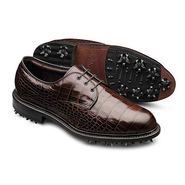 "Allen Edmonds ""The Haskell"" ($345, www.allenedmonds.com)                       If Dad is a real dude, here is the ultimate of pair of golf shoes for him -- a cleated blucher with crocodile embossed leathers. Note the plain toe, welted construction and classic styling. Simple but extremely elegant."