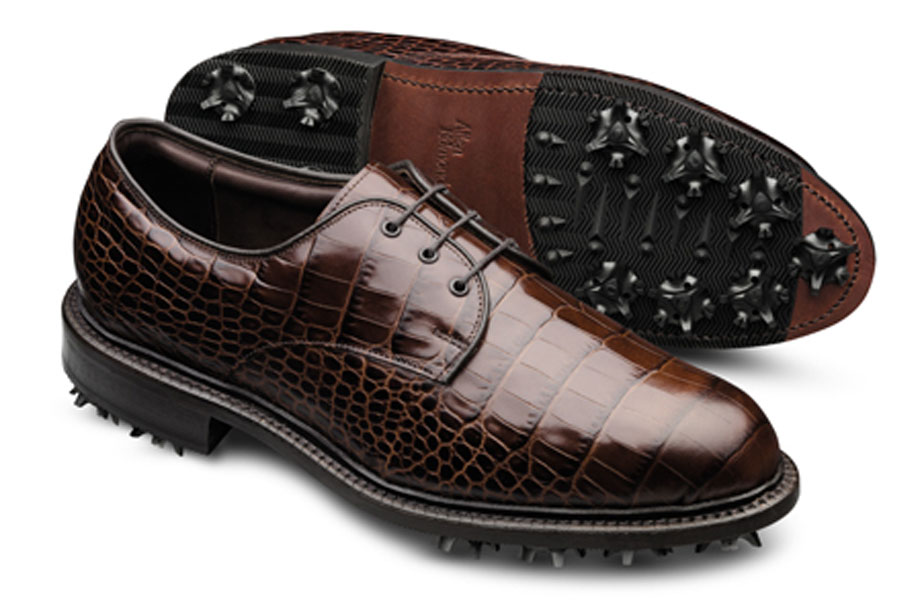 Allen Edmonds                   Ben Hogan wore Allen Edmonds golf shoes. In its second season since returning to golf, the company is going for outright elegance and full playability. The Haskell shoes are all leather, tooled to look like crocodile, with modern performance features. ($345)