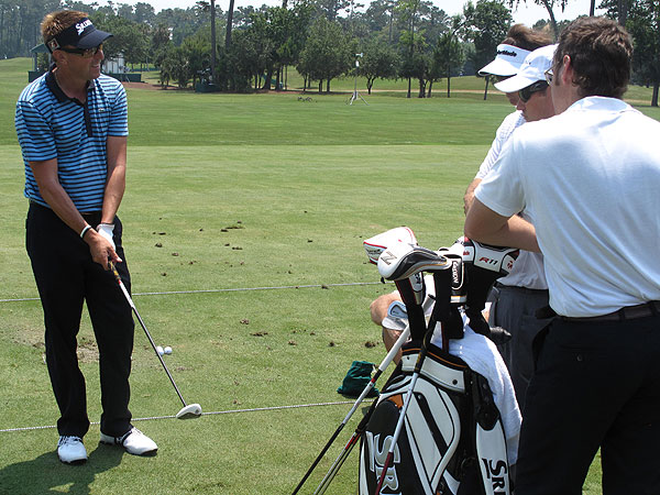 Robert Allenby has been playing a TaylorMade Tour Burner 5-wood this season, but Tuesday he spent time on the range testing the new TaylorMade R11 5-wood.