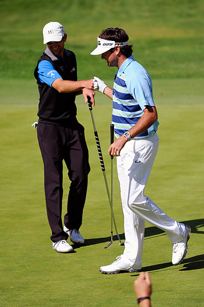 Jason Allred, seen here congratulating Bubba Watson on his bunker shot on No. 6, had quite the weekend himself. A Monday qualifier, his T3 finish at his first PGA Tour event since 2008 was a career best for the 33-year-old.