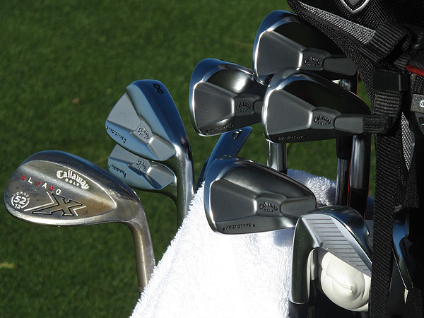 plays Callaway's Tour Proto irons and has some fancy paint fill in his X-Forged gap wedge.