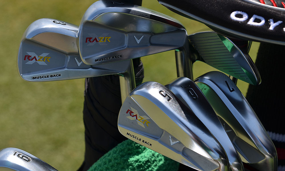 Callaway customized Alvaro Quiros's RAZR X Muscleback irons with the colors of the Spanish flag.