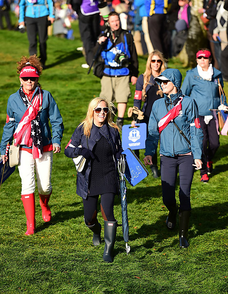 Amy Mickelson and fellow U.S. wives and girlfriends followed the action on Friday.