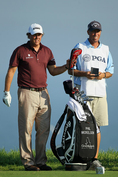 Callaway                    Though details of Mickelson's endorsements are unknown, it is widely believed that Callaway -- his club sponsor -- sends Lefty his largest paycheck. He uses 13 Callaway clubs, a Callaway ball, and a putter by Odyssey, which is owned by Callaway