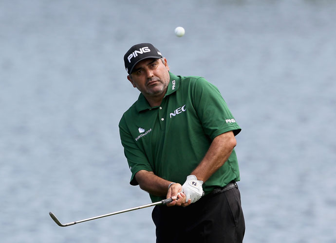 Angel Cabrera chips on the 16th hole during his 66 at Quail Hollow in the first round of the Wells Fargo Championship. Cabrera made just one bogey and led Phil Mickelson and Martin Flores by a shot.