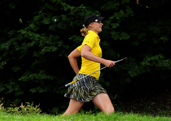 Anja Monke of Germany showed hustle, but shot 74 to finish at one over par.