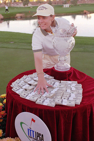 Annika won the LPGA Tour Championship in 1997, collecting a nice trophy and a pile of cash. She has won more than $22 million in her career.