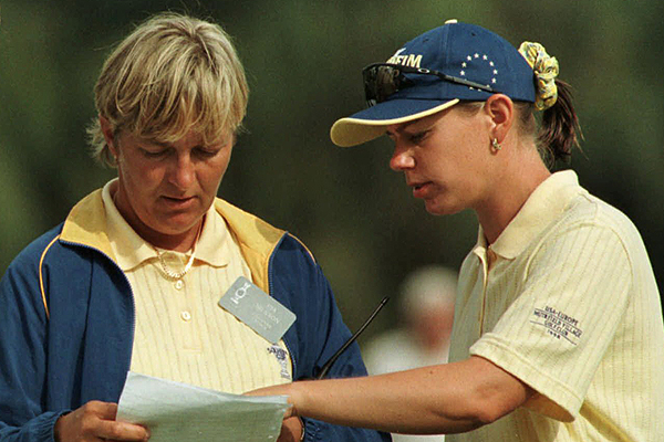 Sorenstam at the 1998 Solheim Cup with Pia Nilsson, her longtime coach and friend. Sorenstam has been a stalwart on the European team since 1994, with an overall record of 22-11-4.