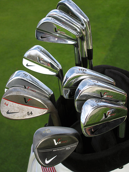 Anthony Kim is playing Nike's Victory Red Forged Blade irons.