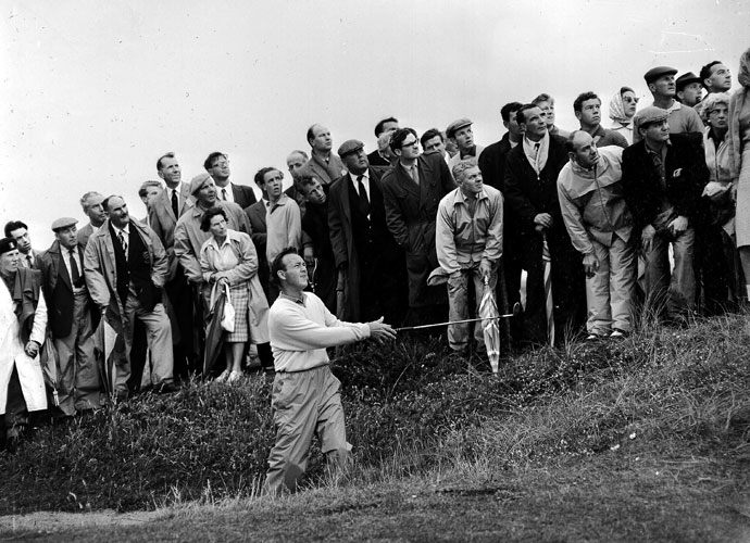 7. Arnold Palmer                       The King's freewheeling style of play meant he'd sometimes find himself off the beaten path, as he did when winning the 1961 British Open at Royal Birkdale (left).