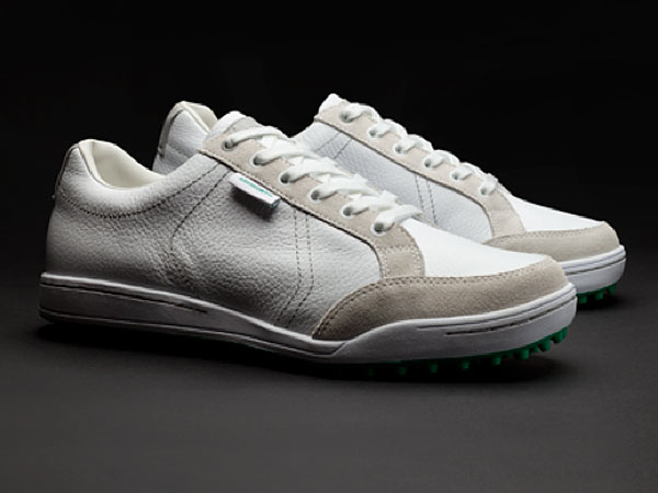The folks at Ashworth Golf have introduced a whole range of casual footwear named for Southern California beach towns that can be worn on or off the course. Their playing shoes, the Cardiff ($120), have studded soles and full leather uppers.