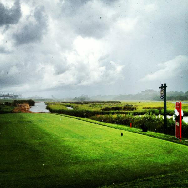 """@DavidDusek: Like I said, rain delays possible throughout the day. Hiding in the 10th tee hut."""
