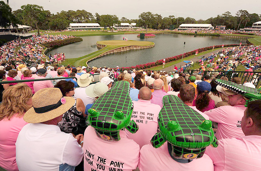 As always, the 17th hole was a popular gathering place for golf fans  -- as well as, we assume, Florida Gator fans.