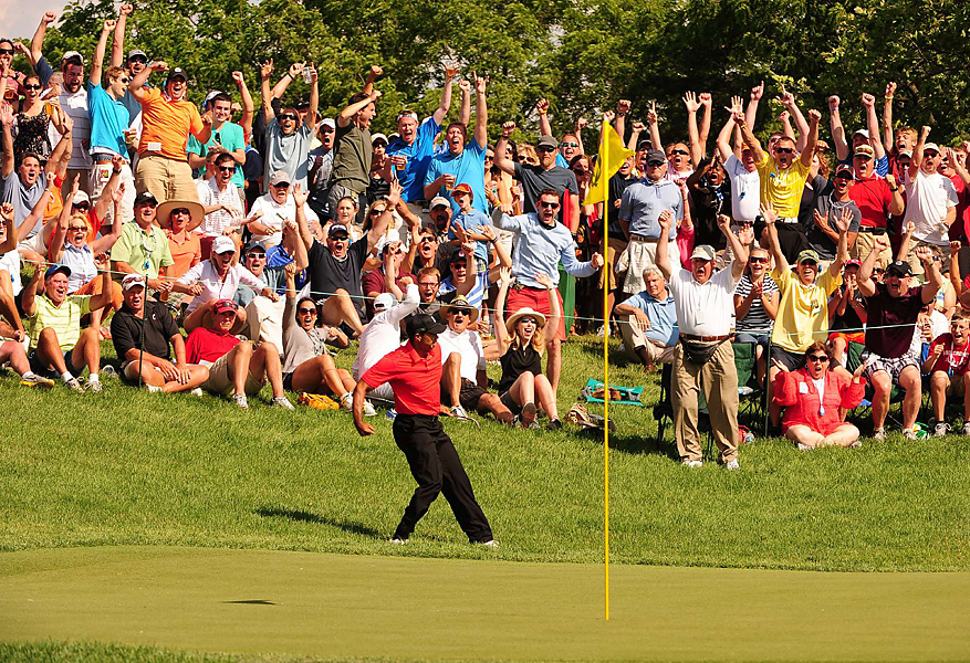 Woods chipped in for an improbable birdie on the 16th hole -- and punctuated the moment with a fist-pump.